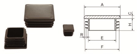 Заглушки квадратные внутренние TUPLAST